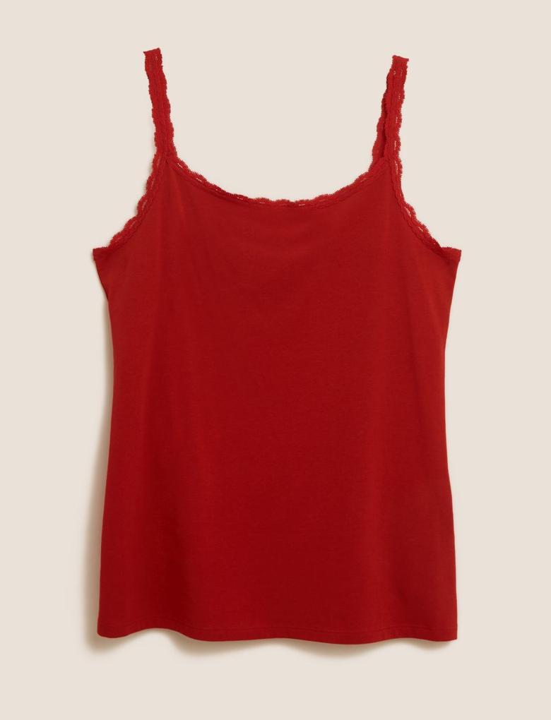 Kırmızı Dantel Askılı Atlet