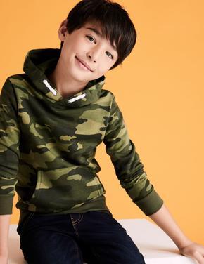 Erkek Çocuk Lacivert Kamuflaj Desenli Kapüşonlu Sweatshirt