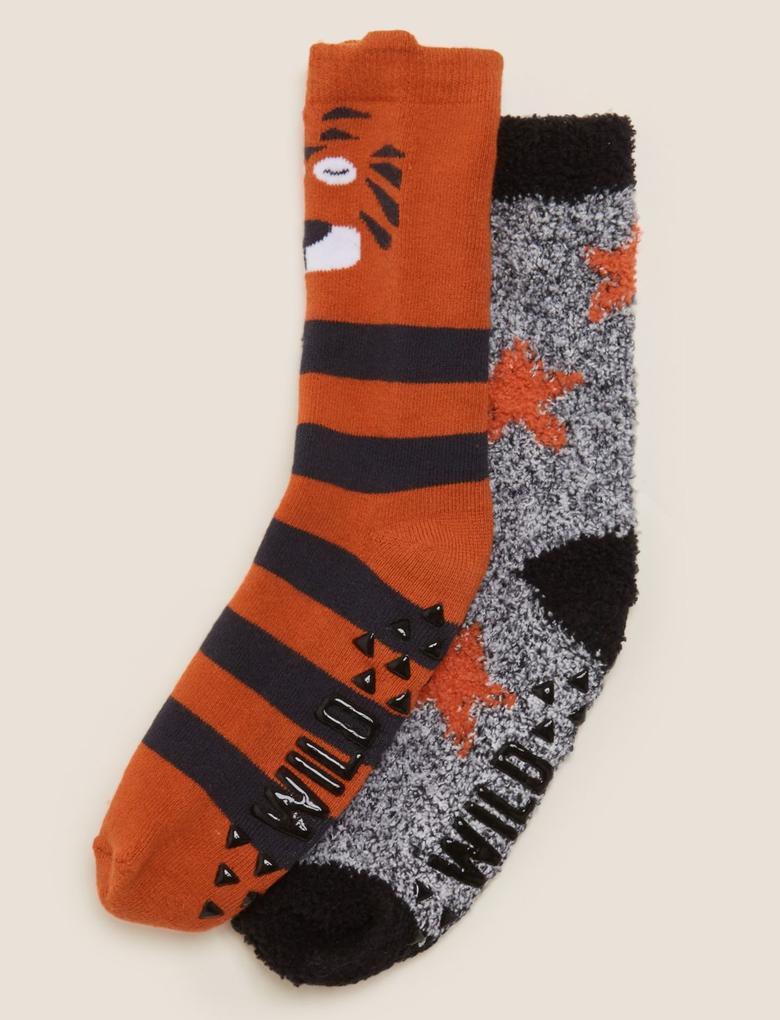 Çocuk Multi Renk 2'li Kaplan Desenli Çorap Seti