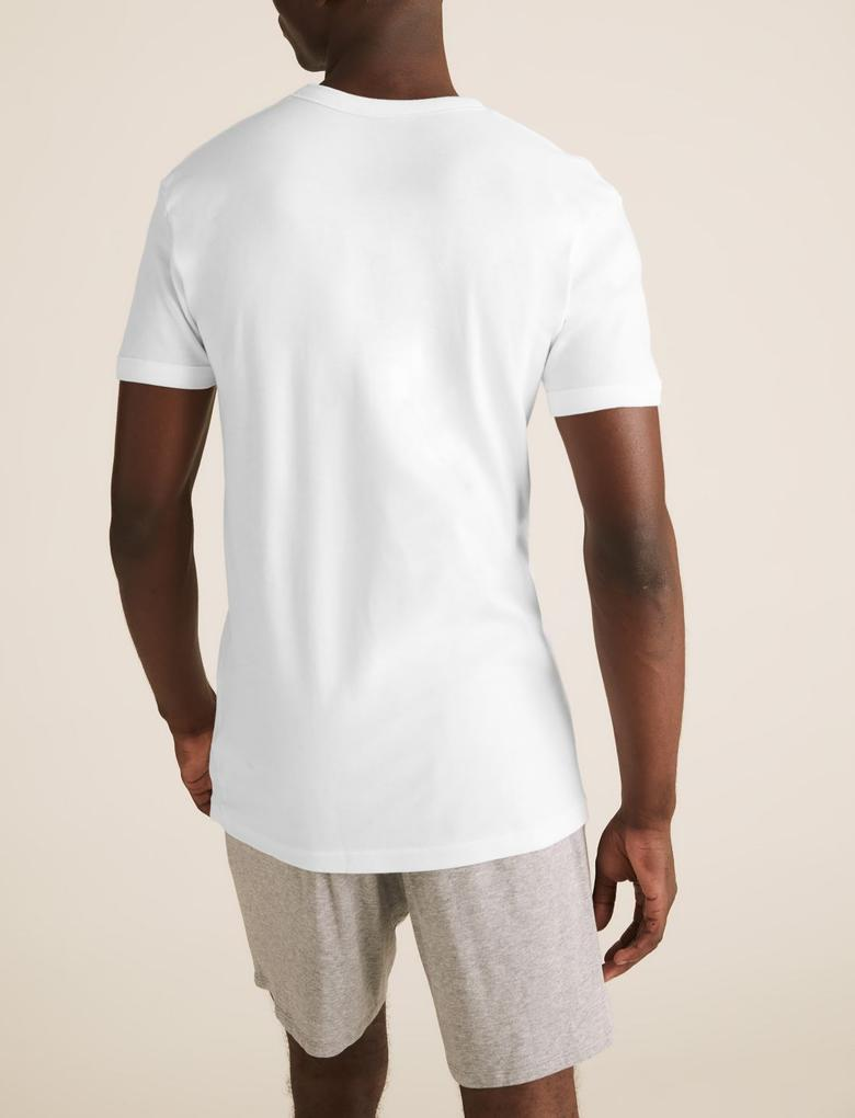 Erkek Beyaz 3'lü Saf Pamuklu V Yaka Atlet Seti