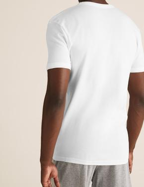 Erkek Beyaz 3'lü Saf Pamuklu Kısa Kollu Atlet Seti