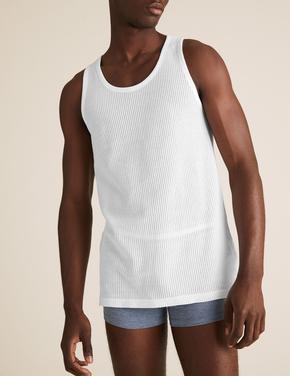 Erkek Beyaz 3'lü Saf Pamuklu Kolsuz Atlet Seti