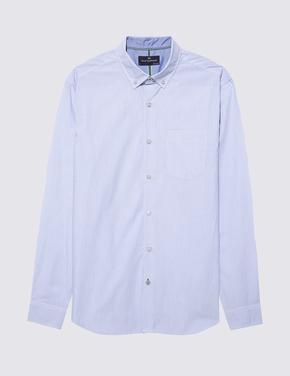 Erkek Lacivert Uzun Kollu Çizgili Gömlek