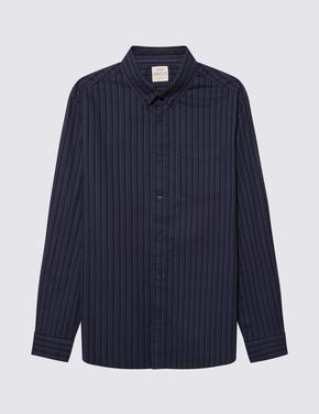 Erkek Mavi Saf Pamuklu Oxford Çizgili Gömlek