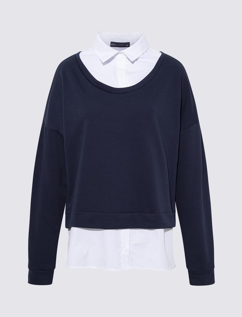 Kadın Lacivert Poplin Yakalı Sweatshirt