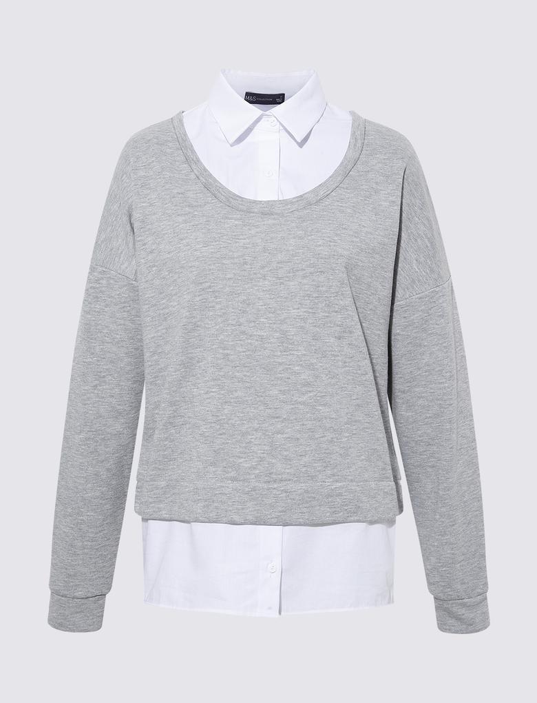 Kadın Gri Poplin Yakalı Sweatshirt