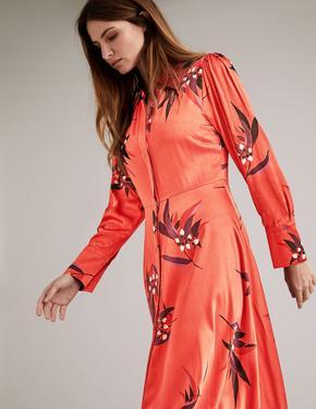 Turuncu Çiçek Desenli Saten Midi Elbise