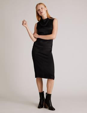 Siyah Saten Dökümlü Yaka Waisted Elbise