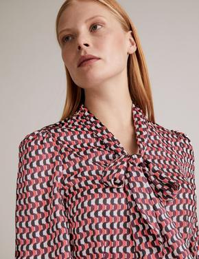 Pembe Geometrik Desenli Saten Gömlek Elbise