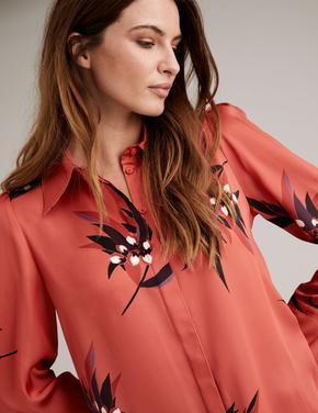 Turuncu Çiçek Desenli Saten Gömlek