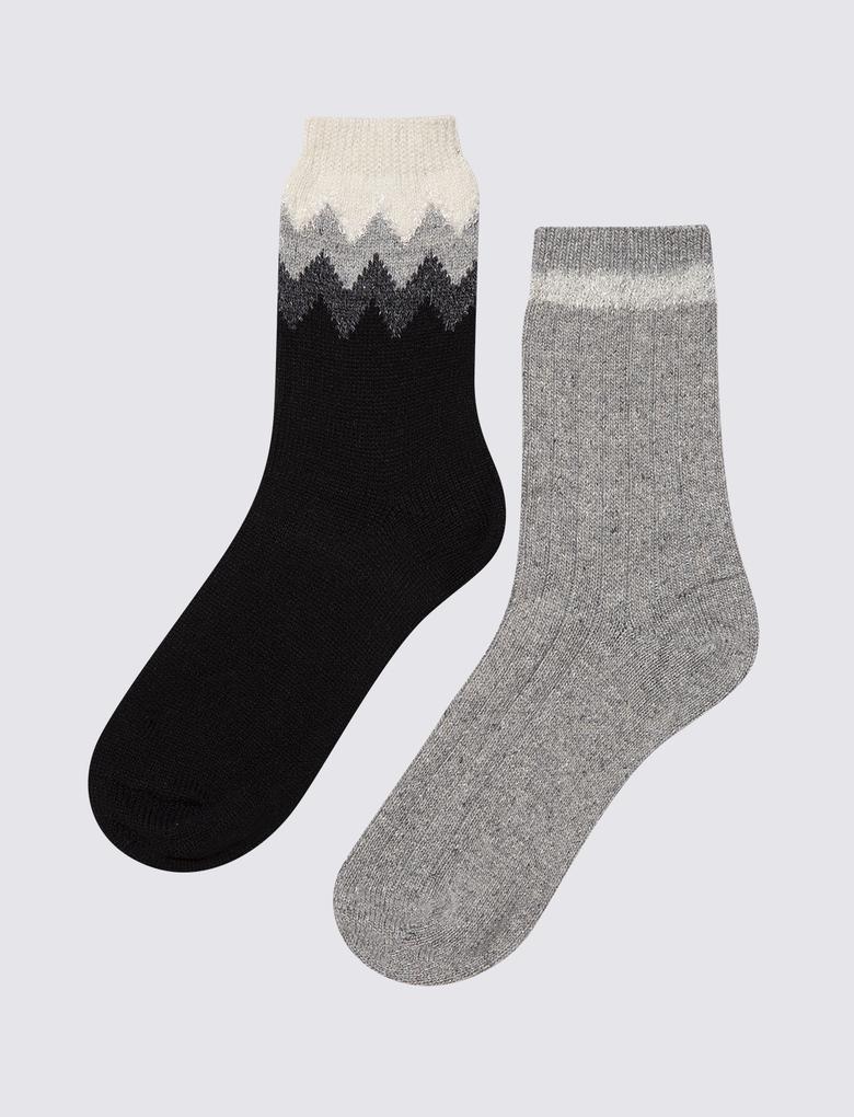 Kadın Gri 2'li Yün Karışımlı Çorap Seti