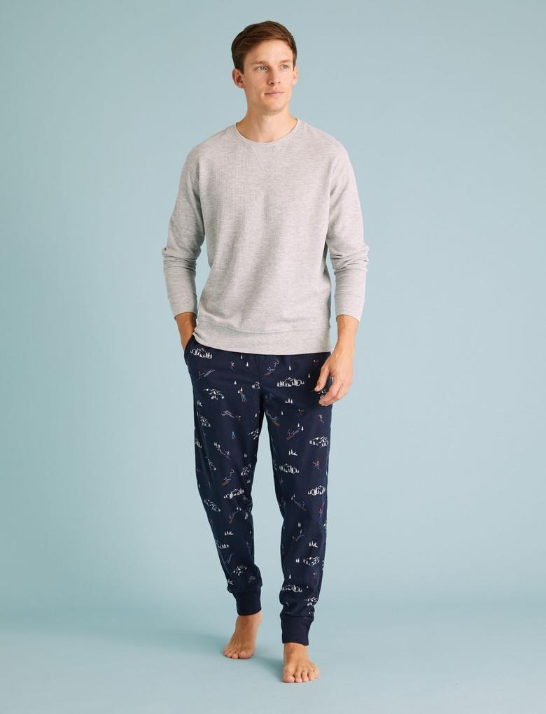 Erkek Lacivert SuperSoft Desenli Pijama Altı