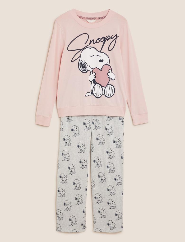 Kadın Pembe Snoopy™ Pamuklu Pijama Takımı