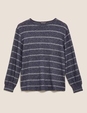 Kadın Lacivert Pırıltılı Çizgili Yuvarlak Yaka Bluz