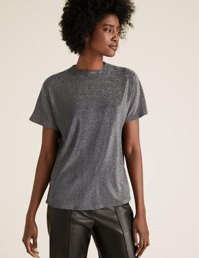 Kadın Gümüş Dik Yakalı Parıltılı Bluz
