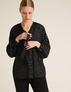 Kadın Siyah Puantiye Desenli Uzun Kollu Bluz