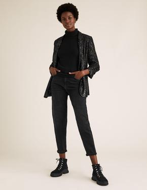 Kadın Siyah Payetli Kolları Büzgülü Blazaer Ceket