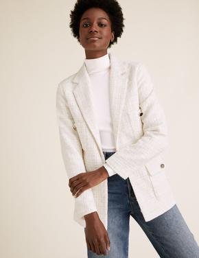 Kadın Beyaz Yün Karışımlı Tüvit Blazer Ceket