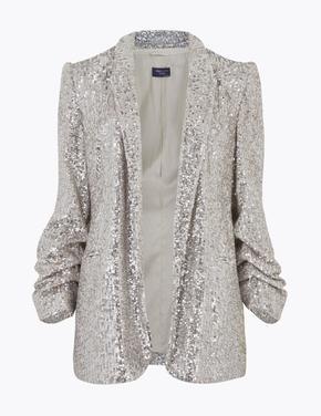 Kadın Gümüş Payetli Kolları Büzgülü Blazaer Ceket