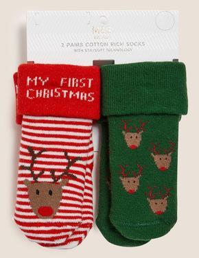 Çocuk Multi Renk 2'li Yılbaşı Desenli Çorap Seti