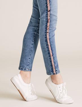 Kız Çocuk Mavi Pullu Şerit Detaylı Skinny Jean Pantolon