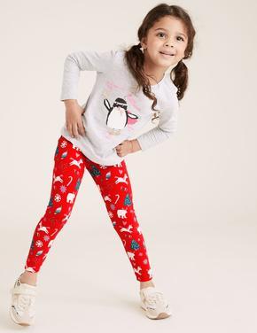 Kız Çocuk Kırmızı Pamuklu Yılbaşı Desenli Tayt