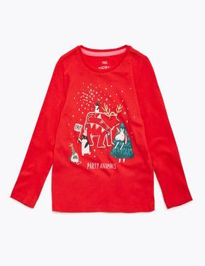 Kız Çocuk Kırmızı Saf Pamuklu Yılbaşı Desenli T-Shirt