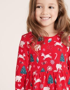 Kız Çocuk Kırmızı Saf Pamuklu Yılbaşı Desenli Elbise