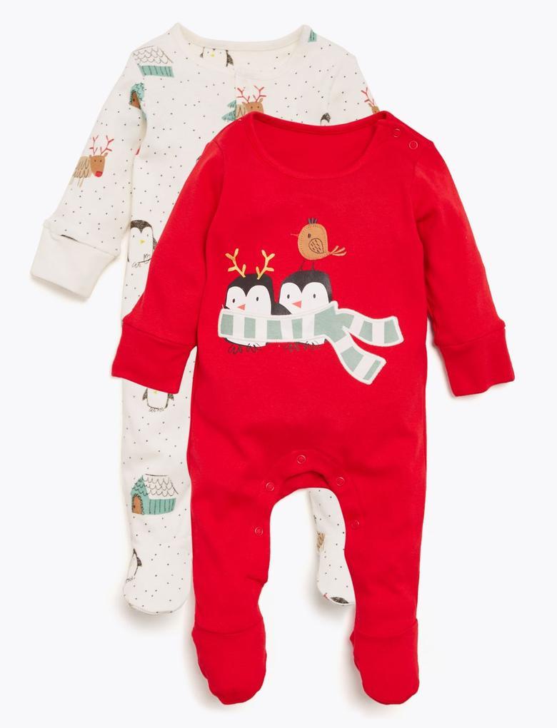 Bebek Kırmızı 2'li Penguen Desenli Tulum Seti