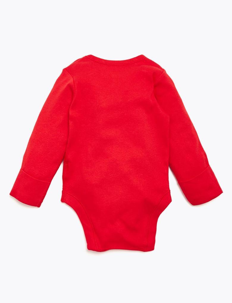Bebek Kırmızı Saf Pamuklu Yılbaşı Desenli Body