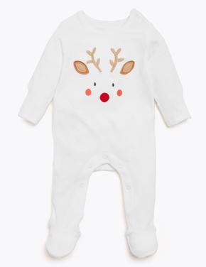 Bebek Beyaz Geyik Desenli Pamuklu Tulum
