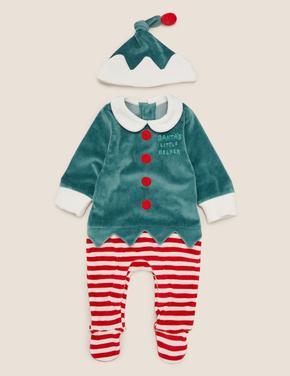 Bebek Yeşil 2'li Elf Şapka ve Body Takımı