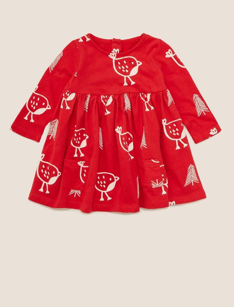 Bebek Kırmızı Saf Pamuklu Desenli Elbise