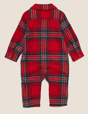 Bebek Kırmızı Saf Pamuklu Ekose Tulum