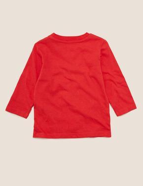 Bebek Kırmızı Kardan Adam Desenli T-Shirt