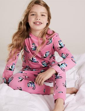 Çocuk Multi Renk Saf Pamuklu Panda Desenli Pijama Takımı