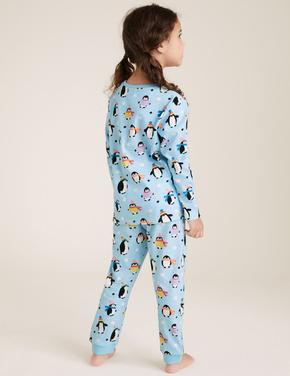 Çocuk Mavi Saf Pamuklu Penguen Desenli Pijama Takımı