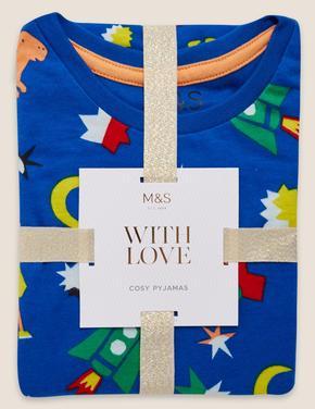 Çocuk Mavi Saf Pamuklu Desenli Pijama Takımı