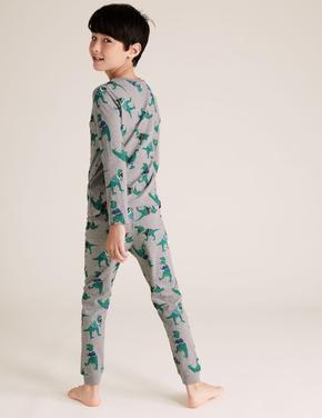 Çocuk Gri Saf Pamuklu Dinozor Desenli Pijama Takımı