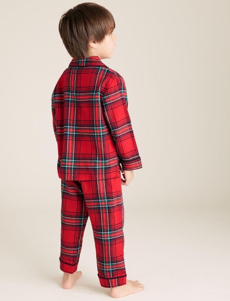 Çocuk Kırmızı Saf Pamuklu Ekose Pijama Takımı