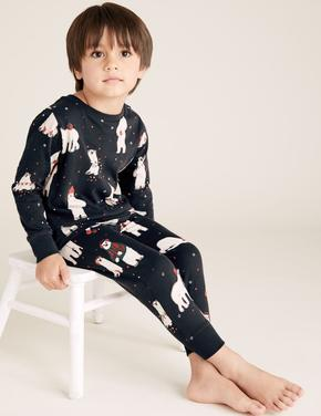 Çocuk Gri Saf Pamuklu Kutup Ayısı Desenli Pijama Takımı