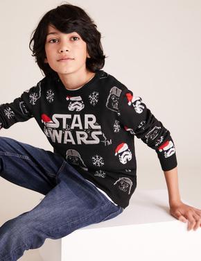 Erkek Çocuk Siyah Star Wars™ Yılbaşı Temalı Kazak