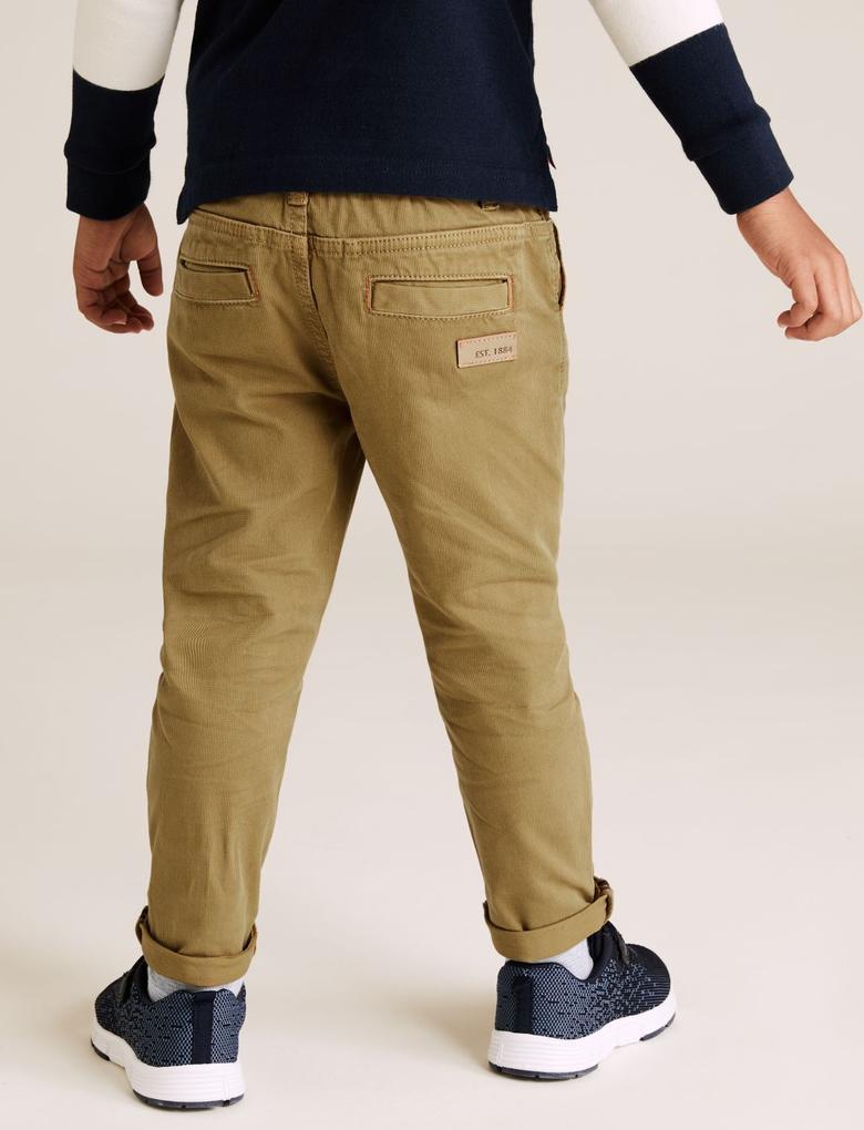 Erkek Çocuk Bej Bel Bağlamalı Regular Fit Pantolon (2-7 Yaş)