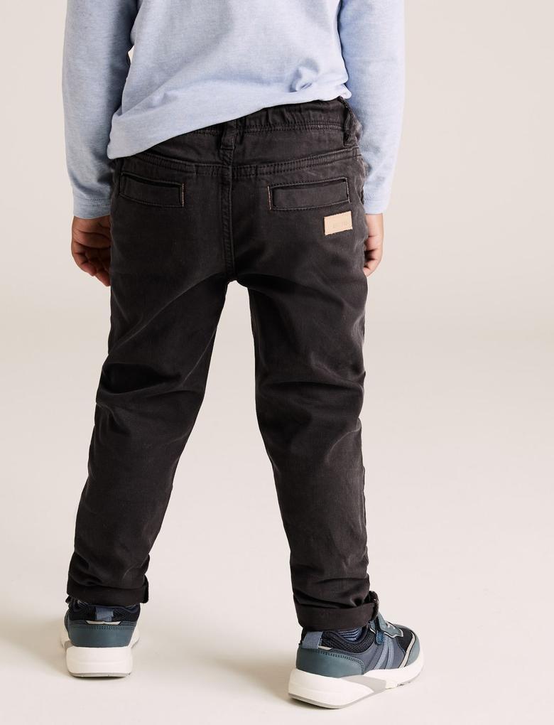 Erkek Çocuk Gri Bel Bağlamalı Regular Fit Pantolon (2-7 Yaş)