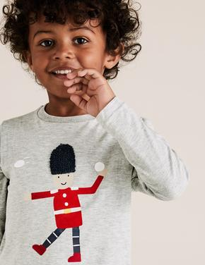 Erkek Çocuk Gri Pamuklu Kurşun Asker Desenli T-Shirt