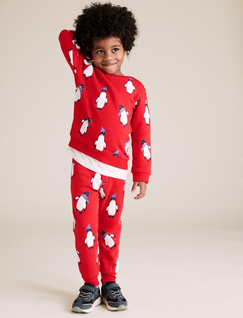 Erkek Çocuk Kırmızı Penguen Desenli Jogger Eşofman Altı
