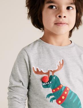 Erkek Çocuk Gri Pamuklu T-Rex Desenli T-Shirt