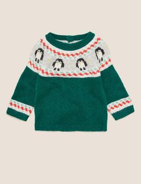 Bebek Yeşil Penguen Desenli Yuvarlak Yaka Kazak