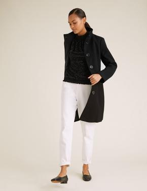 Kadın Siyah Puantiyeli Dik Yakalı Relaxed Bluz