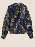 Kadın Siyah Desenli Dik Yakalı Bluz